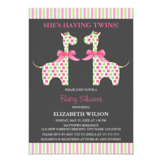 Twin Girl Giraffe Baby Shower Card