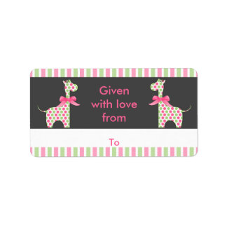 Twin Girl Giraffe Bookplate Address Label