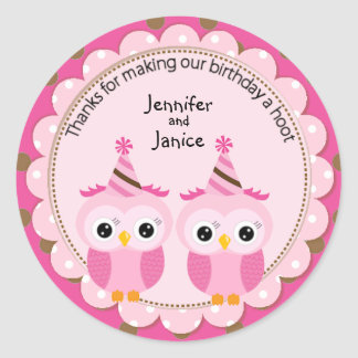 Twin Girl Pink Owls Birthday Thank You Classic Round Sticker