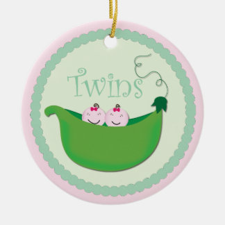Twin Girl Sweet pea baby shower ornament
