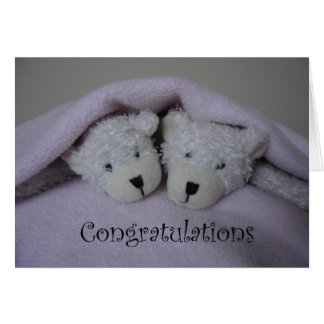 Twin girl teddy bears card