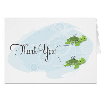 Twin Girl Turtles Thank You Card
