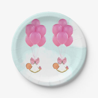 Twin Girls Baby Shower Paper Plate