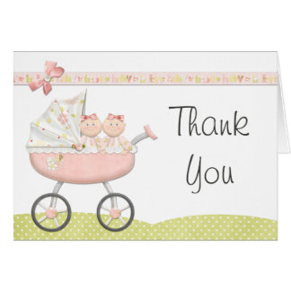 Twin Girls Baby Shower Thank You Card