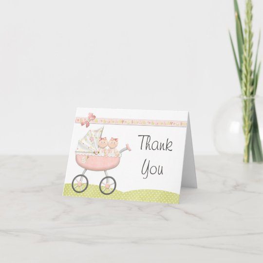 Twin Girls Baby Shower Thank You Card Twin Girls Baby Shower Thank