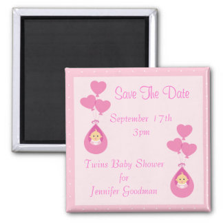 Twin Girls & Balloons Save The Date Baby Shower Square Magnet