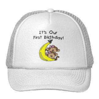 Twin Girls Banana Monkey 1st Birthday Cap
