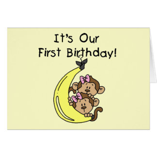 Twin Girls Banana Monkey 1st Birthday Greeting Card