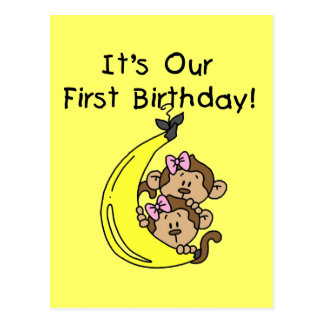 Twin Girls Banana Monkey 1st Birthday Postcard