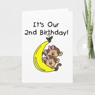 Twin Girls Banana Monkeys 2nd Birthday Card