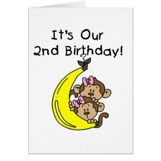 Twin Girls Banana Monkeys 2nd Birthday Card