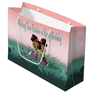 """Twin Girls Birthday Gift Bag Large"" Large Gift Bag"