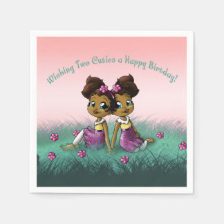 """Twin Girls Birthday Paper Napkins"" Disposable Napkin"