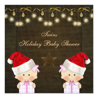 Twin Girls Christmas Baby Shower Card