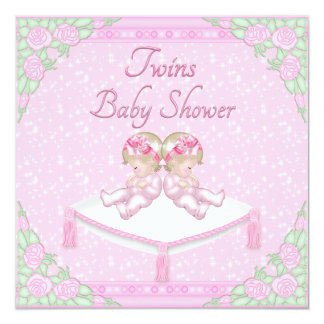 Twin Girls, Cushion and Roses Pink Baby Shower Custom Announcement