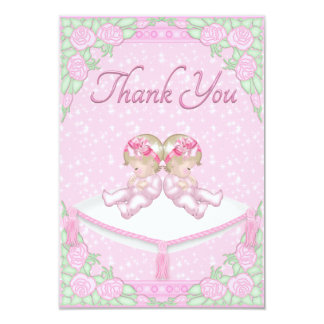 Twin Girls, Cushion and Roses Pink Thank You Invite