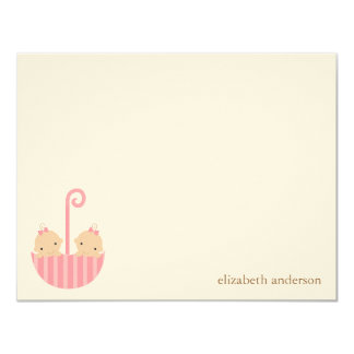Twin Girls Custom Flat Thank You Cards Invitations
