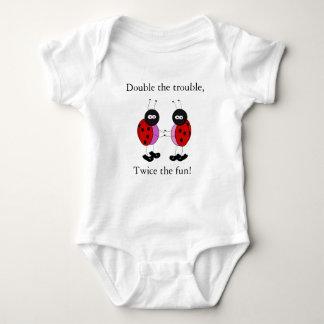 Twin girls double the trouble ladybugs baby bodysuit
