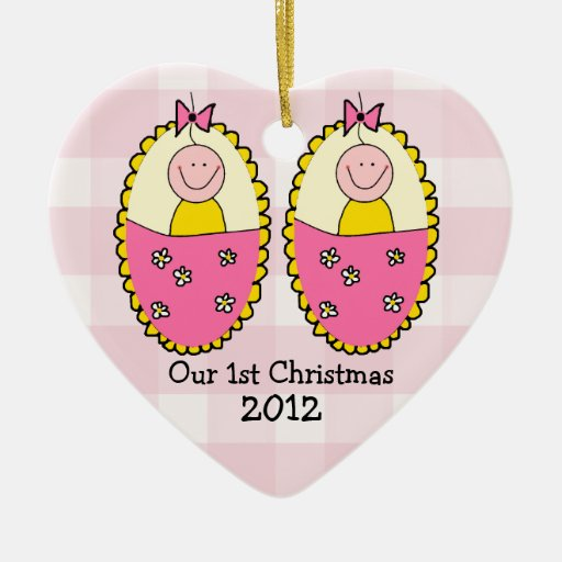 Twin Girls First Christmas Christmas Tree Ornaments