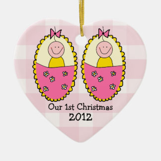 Twin Girls First Christmas Pink Ceramic Heart Decoration