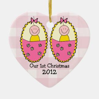 Twin Girls First Christmas Pink Christmas Ornament