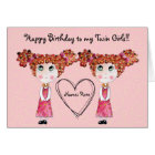 Twin Girls Happy Birthday Customisable Card
