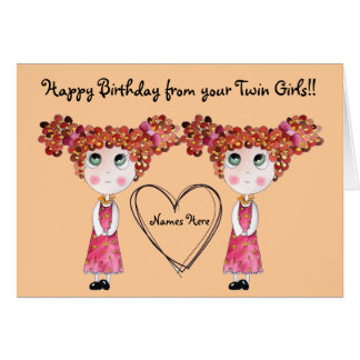 Twin Girls Happy Birthday Customisable Card