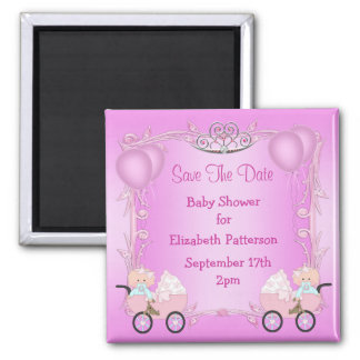 Twin Girls in Carriages Baby Shower Save The Date Square Magnet
