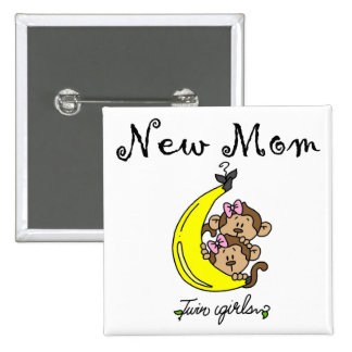 Twin Girls New Mom T-shirts and Gifts 15 Cm Square Badge