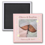 Twin Girls Photo Announcement Magnet