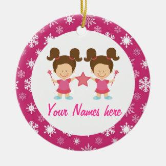 Twin Girls Pink Christmas Keepsake Gift Christmas Ornament