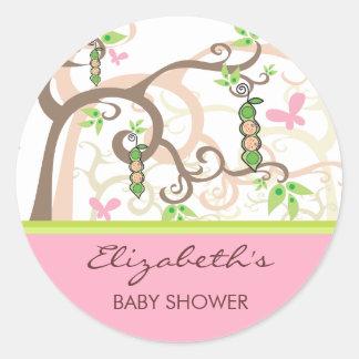 Twin Girls Pink Peas In A Pod Baby Shower Sticker