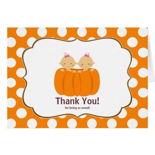 Twin Girls Pumpkin Thank You Note Card