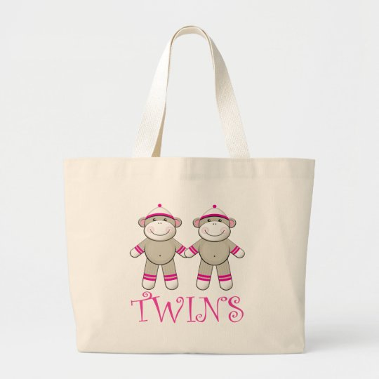 Twin Girls Sock Monkey Tote Bag