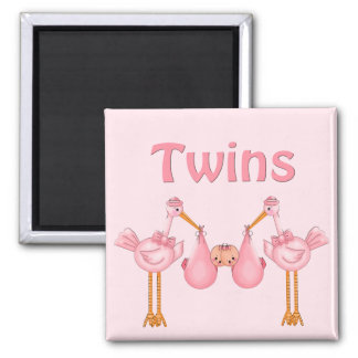 Twin Girls Square Magnet