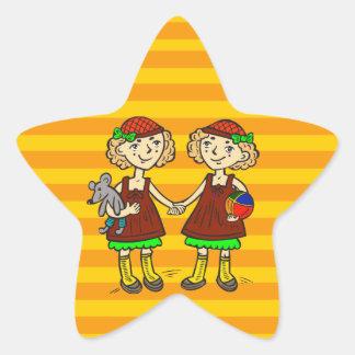 Twin Girls Star Sticker