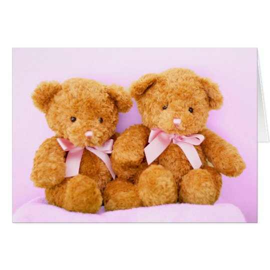 Twin Girls Teddy Bears Baby Shower Greeting Card
