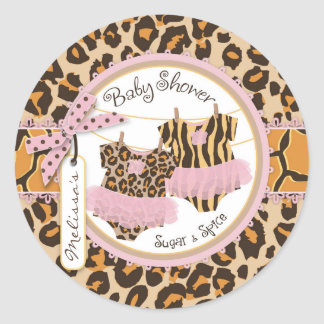 Twin Girls Tutus Cheetah Print Baby Shower Label