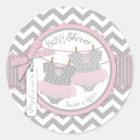 Twin Girls Tutus Chevron Print Baby Shower Classic Round Sticker
