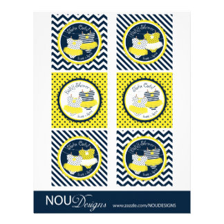 Twin Girls Tutus Mix Print Large Cupcake Toppers Flyer Design