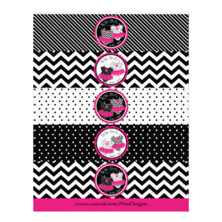 Twin Girls Tutus Mix Print Water Bottle Labels Flyer Design