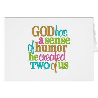 """TWIN-GOD HAS A """"SENSE OF HUMOR""""-LOOK AT US CARD"""