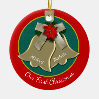 Twin Gold Bells Couple's First Christmas Ornament