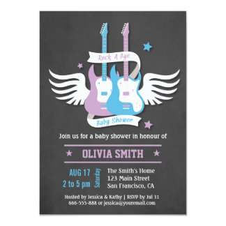 Twin Guitars Rock and Roll Rock a Bye Baby Shower 11 Cm X 16 Cm Invitation Card