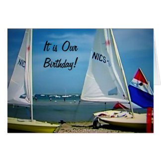 """TWIN-I'M HAPPY I SHARE MY BIRTHDAY WITH """"YOU"""" GREETING CARD"""