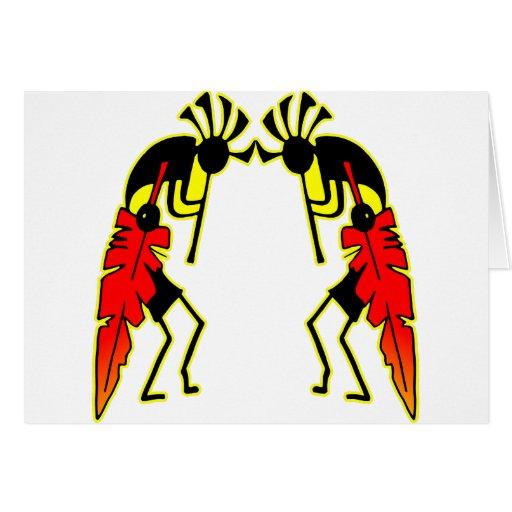 Twin Kokopeli  w/ Feathers Greeting Cards