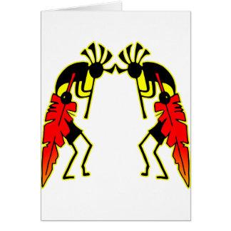 Twin Kokopeli  w/ Feathers Card