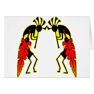 Twin Kokopeli  w/ Feathers Greeting Card