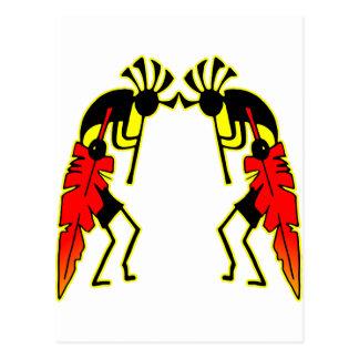 Twin Kokopeli  w/ Feathers Postcard