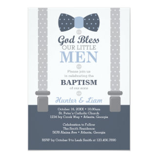 Twin Little Men Baptism Invitation, Blue, Gray Card